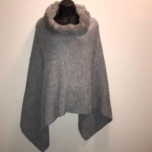 FRATELLI TALLI Wool Blend Gray/Blue Poncho~ONE SZ~